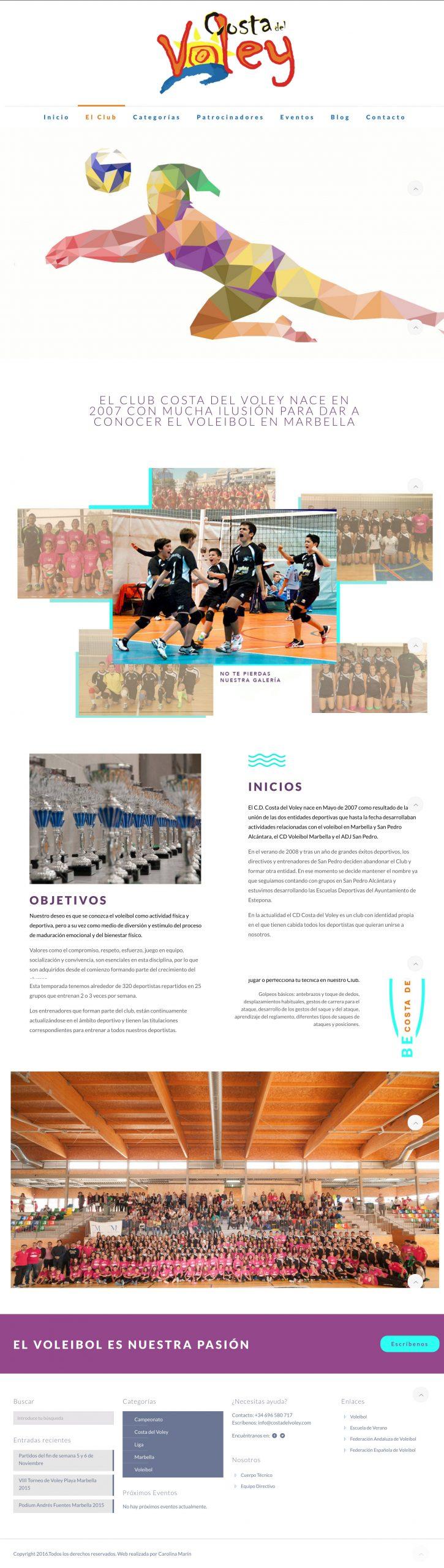 Diseño Web Club Costa del Voley
